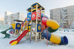 Playground structure outdoors in winter Stock Photos