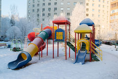 Playground structure outdoors in winter Stock Image