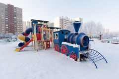 Playground structure outdoors in winter Royalty Free Stock Image