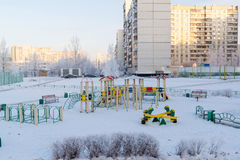Playground structure outdoors in winter Royalty Free Stock Images