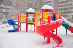 Playground structure during a snowfall, Russia Stock Photography