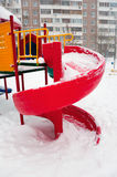 Playground structure during a snowfall, Russia Royalty Free Stock Photography