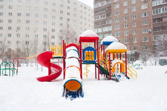 Playground structure during a snowfall, Russia Stock Photos