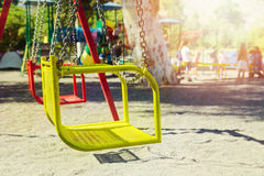 Playground swing in camping area Royalty Free Stock Image