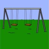 Playground swings. Cartoon illustration showing an abandoned playground swing set royalty free illustration