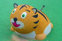 Playground with a tiger toy. stock photo