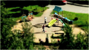 Playground Time lapse. Tilt shift effect stock footage