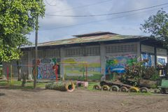 Playground with tires at Tortuguero, Costa Rica. Amerique Centrale royalty free stock photos