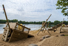 Playground by the Water. Wooden playground by the water Royalty Free Stock Photography