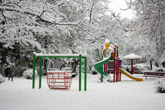 Playground in winter. With snow Royalty Free Stock Images