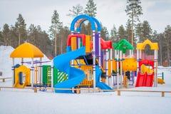 Playground in winter Stock Photos