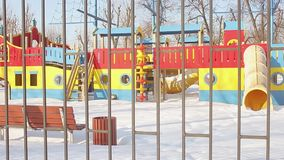 Playground in winter stock video
