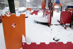 Playground in winter Stock Photos