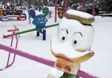 Playground in winter - RAW format Royalty Free Stock Photos