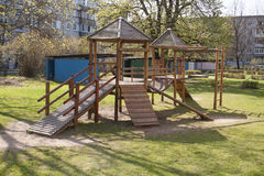 Playground. A wooden children playground equipment Royalty Free Stock Photo