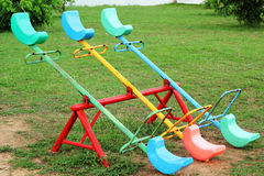 A playground - wooden rocking. Royalty Free Stock Image