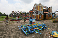Playground. The workers are building a playground for a night market in Solo, Central Java, Indonesia Royalty Free Stock Photography