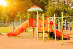 Playground on yard in the park. Colorful playground on yard in the park Royalty Free Stock Photo