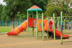 Playground on yard in the park. Colorful playground on yard in the park Royalty Free Stock Photos
