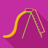 Playground yellow slide icon, flat style Stock Image