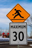 Playground Zone with Maximum Speed Limit Sign Royalty Free Stock Image