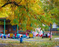 Playgrounds in autumn. Children`s playgrounds in autumn, they are as colorful and colorful as the autumn itself Royalty Free Stock Image