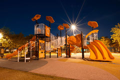 Playgrounds. In garden at night Stock Photo