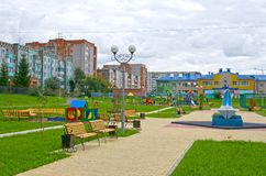 Playgrounds in a public park. Autumn. Russia. Siberia royalty free stock photos