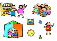 Playgroup preschool nursery daycare activities. Multi-racial preschool children in various play activities at nursery. Multi-racial preschool children in various Stock Photo