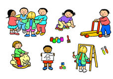 Playgroup preschool nursery daycare activities. Multi-racial preschool children in various play activities at nursery. The images can be edited as desired, i.e Stock Image