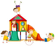 Playhouse. Illustration of children and a playhouse Royalty Free Stock Photos