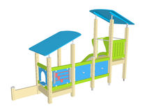 Playhouse with slide, 3D illustration. Playhouse with slide, blue green and yellow, 3D illustration Stock Photo