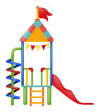 Playhouse with slide and steps. Illustration Stock Photo