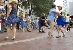 Swing dancing on the U.S. Bank Plaza in Cleveland, Ohio, USA