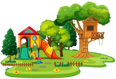 Playhouse and treehouse in the park. Illustration Stock Photography