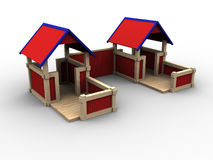 Playhouse Village. 3d image of playhouses for children Royalty Free Stock Photography