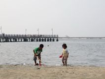 playiing在海滩的孩子 库存照片