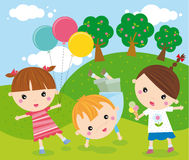 Playing. Illustration of group of children in the park