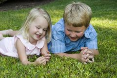 Playing. Brother and sister playing Royalty Free Stock Images