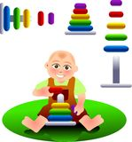 Playing. Vector illustration for a baby playing a toy, stacking blocks Stock Photography