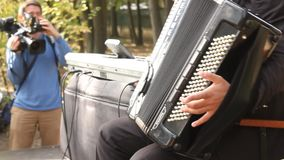 Playing the accordion stock video