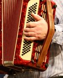 Man playing accordion, hands. Playing the accordion, you can see a lot of buttons and hands of a senior stock photo