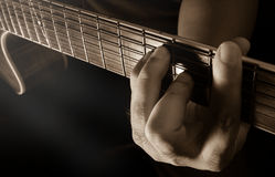 Playing acoustic guitar,guitarist or musician. Stock Photography