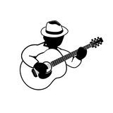 Playing acoustic guitar -   icon Royalty Free Stock Image