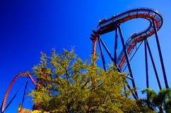Exciting roller coaster ride in children theme park stock images