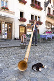 Playing on an Alphorn stock images