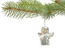 Playing angel. Decoration on a christmas tree Royalty Free Stock Photo