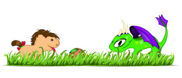 Playing animals. Dragon and pony plaing with ball. Vector illustration eps10 Royalty Free Stock Images