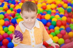 Playing area for childre. N. baby in a colorful coloring box Royalty Free Stock Photo