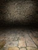 Playing area in a dark style. Artistic interiors - a scene with a stone floor Royalty Free Stock Image